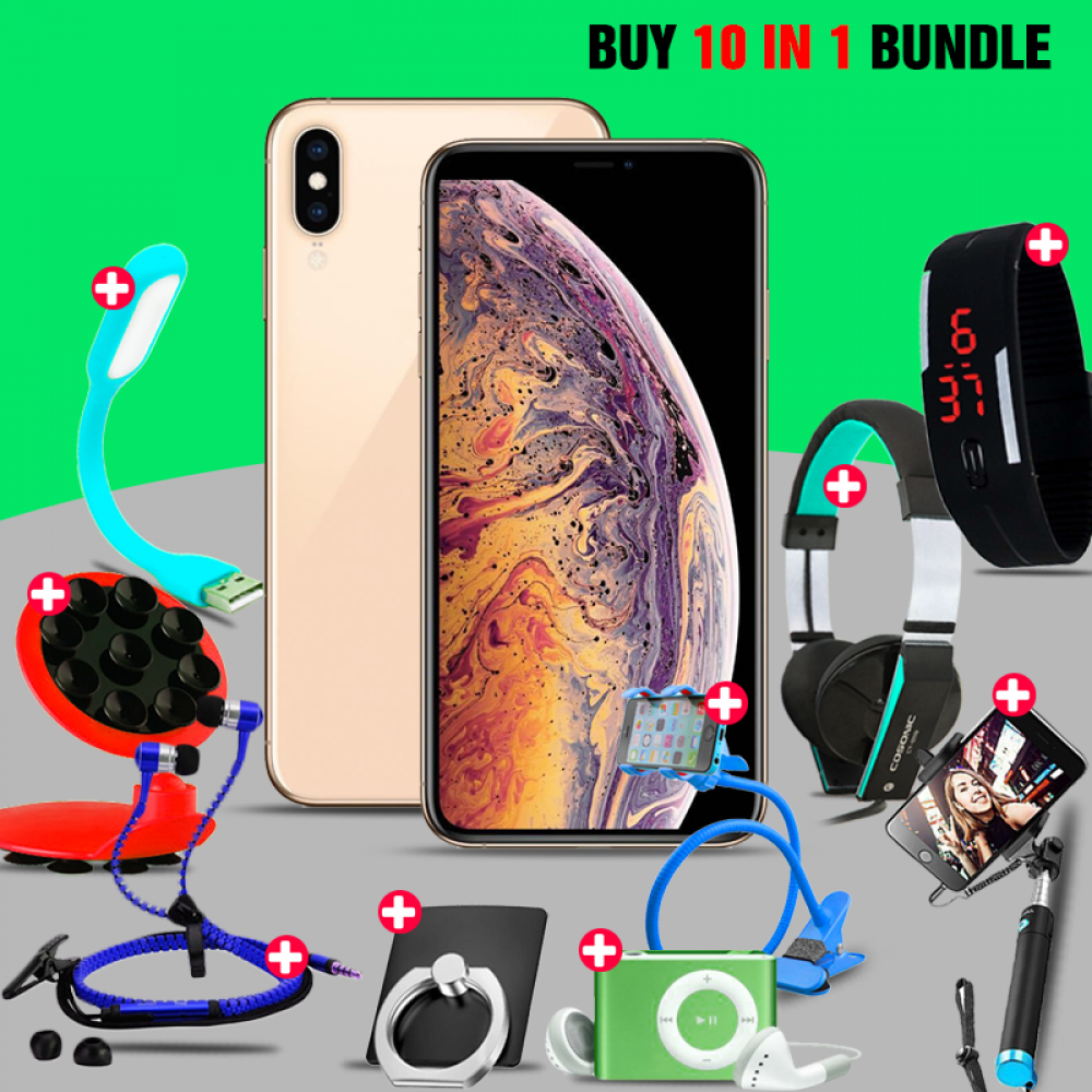 10 In 1 Bundle Offer, Mai K2, Dual Sim, Universal Rotating Phone Plate Holder, Portable USB LED Lamp, Zipper Stereo Wired Earphones, Ring Holder, Headphone, Mobile holder, Selfie stick, Mp3 player, Led band watch