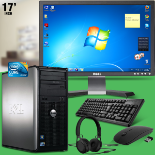 "Dell Optiplex 780, Intel® Core™ 2 Duo-E8400 3.0GHz, 2GB Memory, 160GB Hdd, DVDRw, 17,0"" Lcd, Intel® Hd Graphics, Windows 7, Wired Keyboard & Wirless Mouse, Headset"
