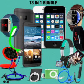 13 In 1 Bundle Offer, Safari M8mini Smartphone, Super4s cell phone, Universal Rotating Phone Plate Holder, Portable USB LED, Zipper StereoEarphones, Ring Holder, Headphone, Mobile holder, Macra watch, Yazol watch, Selfie stick, Mp3 player, Ledwatch