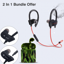 f812dae4603 2 in 1 Bundle Offer, Wireless Sports Bluetooth Stereo Headset With Mic &  Volume Control, Multi-Color air pods Twins Wireless Bluetooth Mini Dual  Earpod With ...