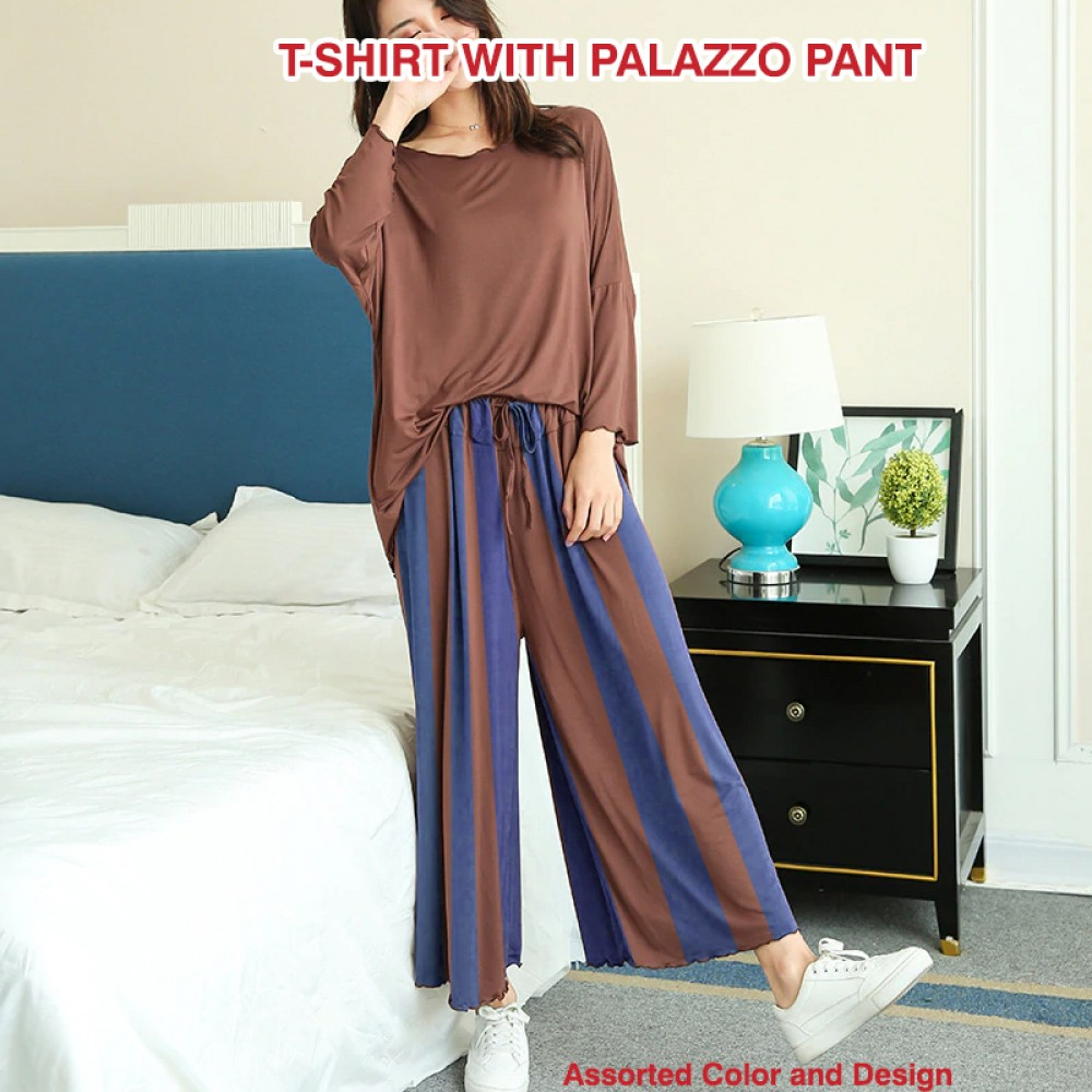 Aura Fashion Ladies Cotton Casual Assorted Color, Size, Design 2pc T-shirt With Palazzo Pant, BH789-16590