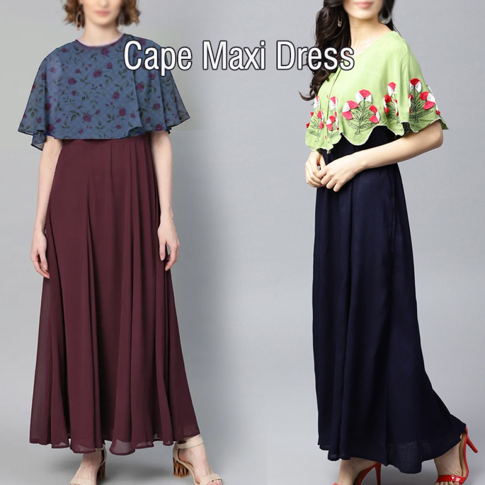 Bright Brand Beauty Assorted Design 2pcs Ladies Capa Casual Maxi Dress, CM250