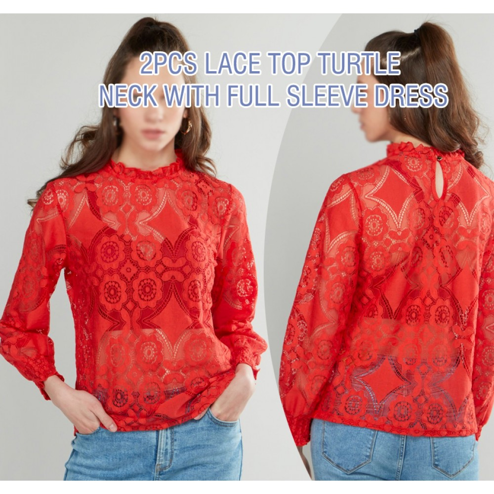 2pcs Lace Top Turtle Neck With Full Sleeve Ladies Dress, SH13