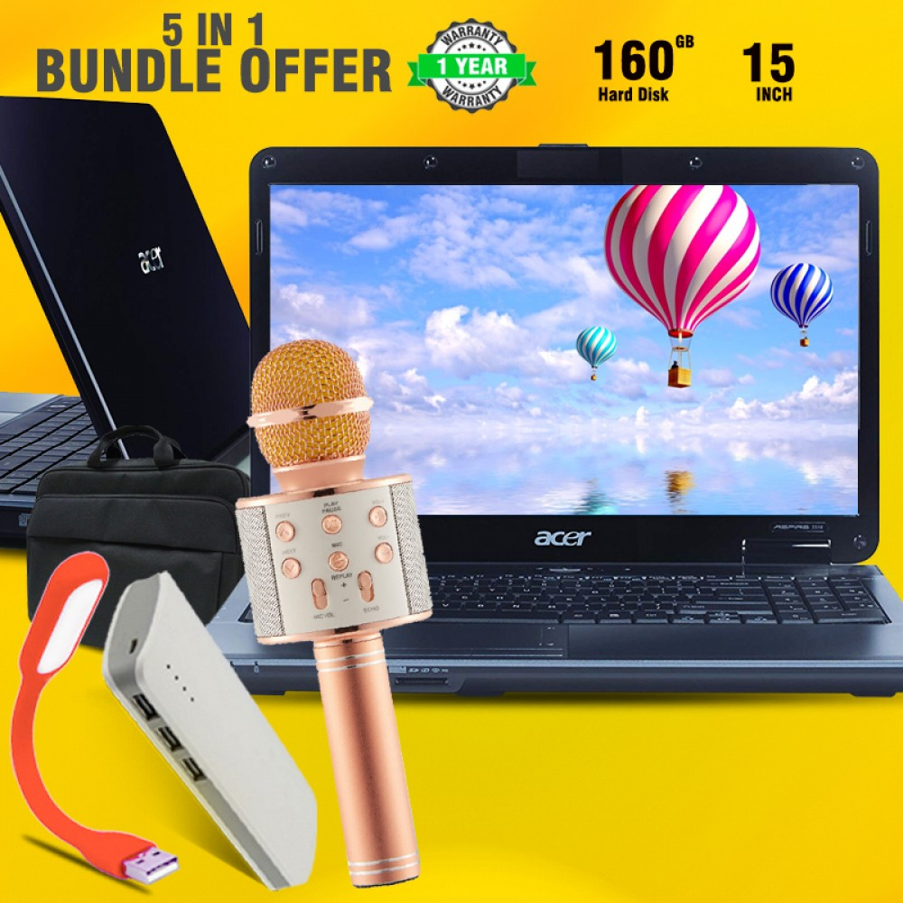 5 In 1 Bundle Offer, Acer Aspire One 4730Z, Core 2 Duo, 2GB Memory, 160GB HDD, 10.1, Free Laptop-Bag, USB Led Lamb, WSIER Wireless Microphone, MAX Universal 20000mAh Power Bank
