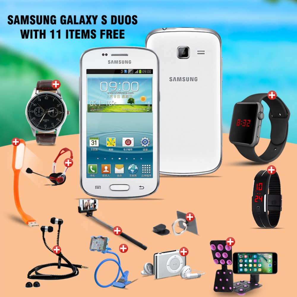 12 In 1 Bundle Offer, Samsung Galaxy S Duos S7562 , Universal Rotating Phone Plate Holder, Portable USB LED Lamp, Zipper Stereo Wired Earphones, Ring Holder, Headphone, Mobile holder, Macra watch, Yazol watch, Selfie stick, Mp3 player, Led band watch